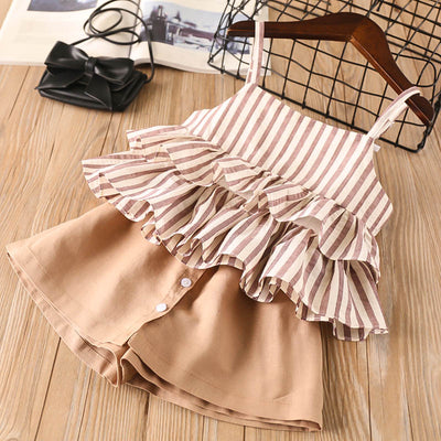 Tan Striped Summer Outfit Set - The Childrens Firm