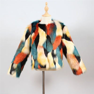 Patchwork Faux Fur Jacket - The Childrens Firm