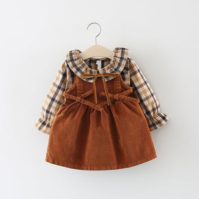 Camel Plaid Pretty Girl Dress - The Childrens Firm