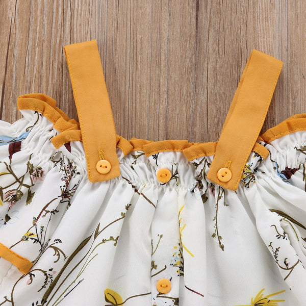 Mustard Floral Top+Ruffles Wide Leg Pants Outfit - The Childrens Firm