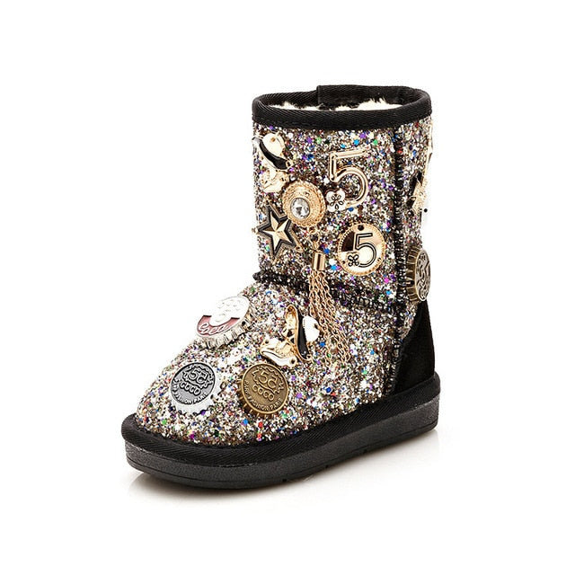 Charm Collected Sequin Snow Boots