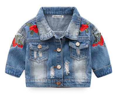 3 Pc Rose Denim Jacket Set - The Childrens Firm