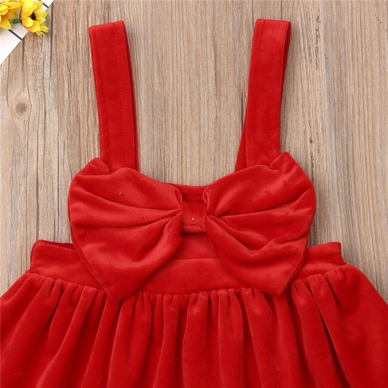 Red Bow Suspender Dress - The Childrens Firm