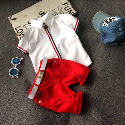 Red Striped Shirt & Shorts Set - The Childrens Firm