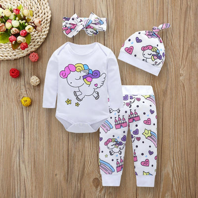 Baby Girl Unicorn Tops+Pants+Hat+Headband 4PCS Set - The Childrens Firm