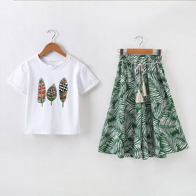 Feather Printed 2Pc Flowy Set - The Childrens Firm