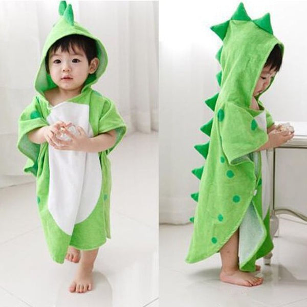 Hooded With Paw Dinosaur Ponchos Bath Robe - The Childrens Firm