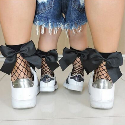 Vintage Ruffle Bow Fishnet Socks - The Childrens Firm
