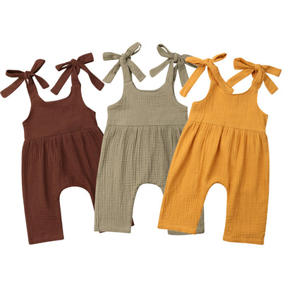 Vintage Baby Girl Bow Strapped Jumpsuit - The Childrens Firm