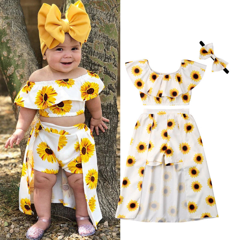Sunflower Crop Top + Skirted Shorts & Headband - The Childrens Firm