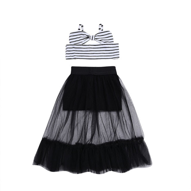 Black & White Tulle Skirt Set - The Childrens Firm