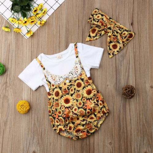3Pcs Baby Girl Clothes Sunnflower Suspender Set - The Childrens Firm