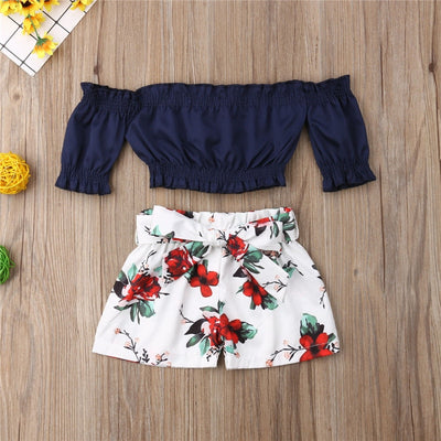 Baby Girl Flower Off Shoulder Crop Tops Shorts Set - The Childrens Firm
