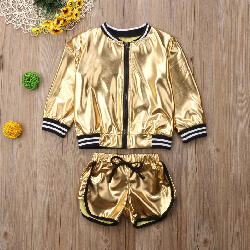 Metallic Golden Jacket & Shorts Set - The Childrens Firm