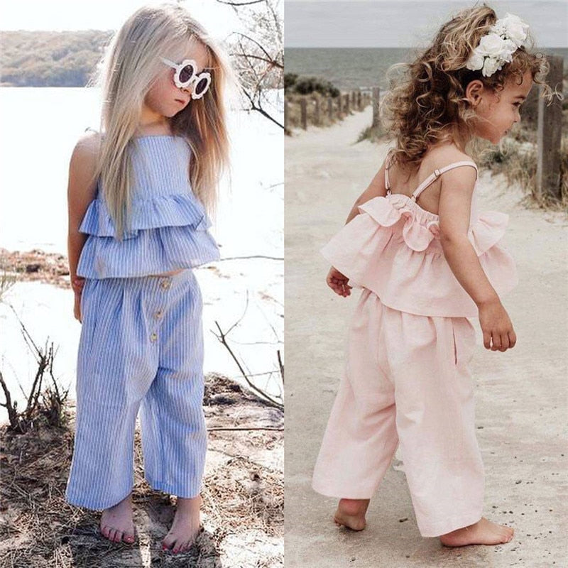 Sleeveless Strap Ruffle Vest Top +  Wide Leg Pants with Headband - The Childrens Firm