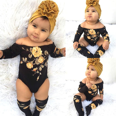Off Shoulder Long Sleeve Flower Romper + Leg Warmers - The Childrens Firm