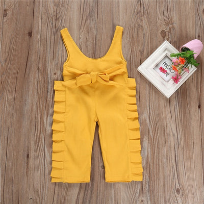 Yellow Ruffle Bow Jumpsuit - The Childrens Firm