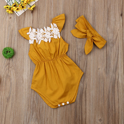 Newborn Baby Girls clothes Flower Sleeveless round neck Bodysuit solid bow Headband 2PCS kids Toddler cotton lovely Outfits - The Childrens Firm