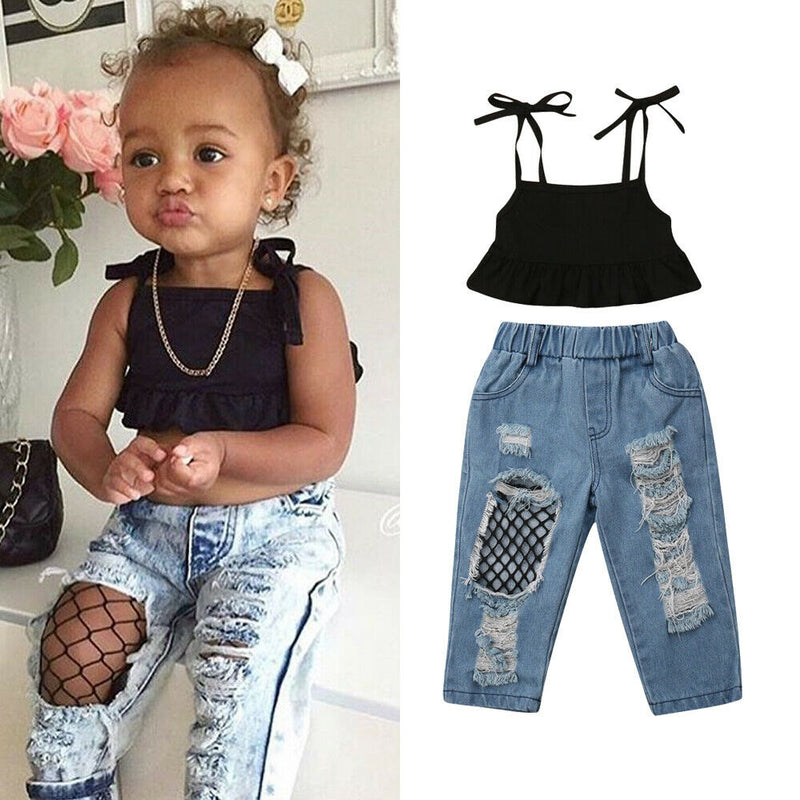 Baby Girl Strap Vest Top + Fishnet Ripped Jeans - The Childrens Firm