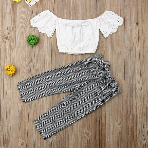 Off Shoulder Lace & Highwaist Pants Set - The Childrens Firm
