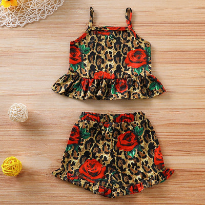Red Roses Leopard 2 Piece Sleeveless Set - The Childrens Firm