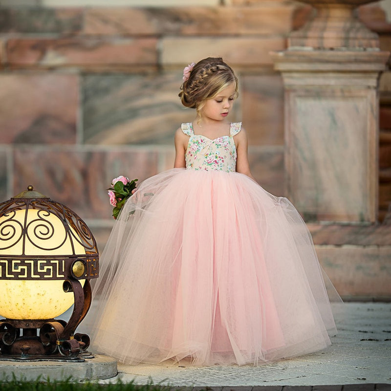 Girls Floral Long Tutu Dress Wedding Party Dress - The Childrens Firm