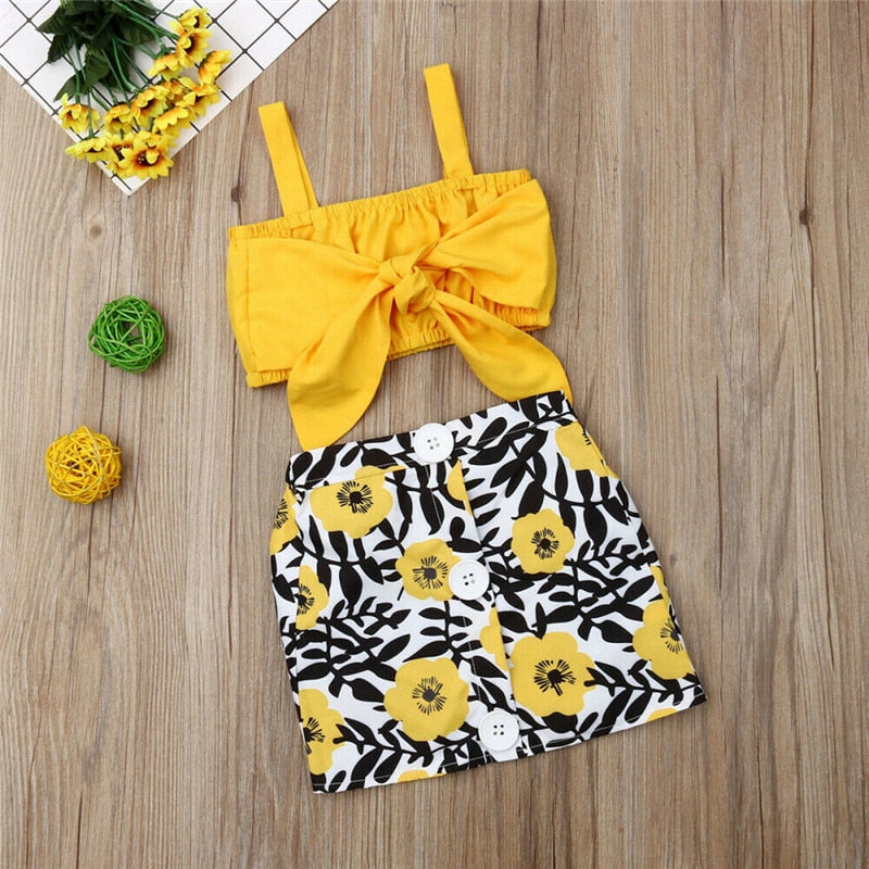 Flora printedl Yellow Crop Top with Skirt - The Childrens Firm