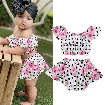Floral Polka Dot Crop Top With Ruffled Skirt - The Childrens Firm