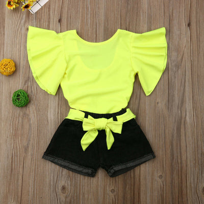 Neon Ruffle Sleeved Top - The Childrens Firm