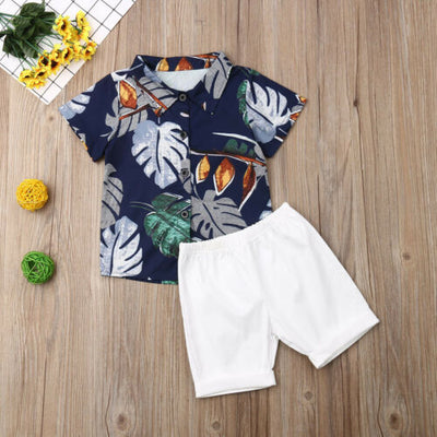 Cute Boys Leaf Printed 2 pc Set - The Childrens Firm