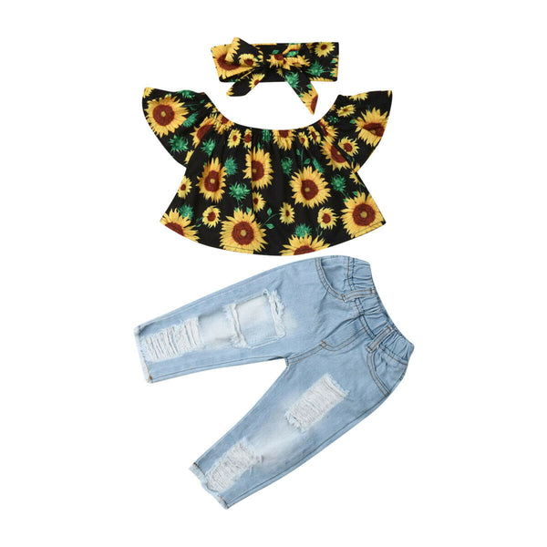 Off Shoulder Sunflower 3PCS Set! - The Childrens Firm