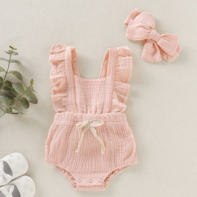 Ruffled Flare Sleeve Bowknot Romper - The Childrens Firm