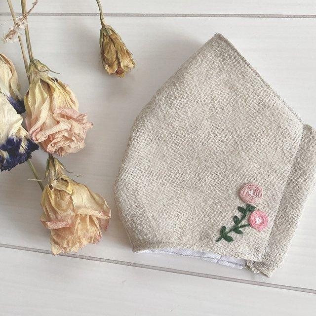 [CLEARANCE SALE] Handmade Rosey Embroidery Linen Fabric Mask