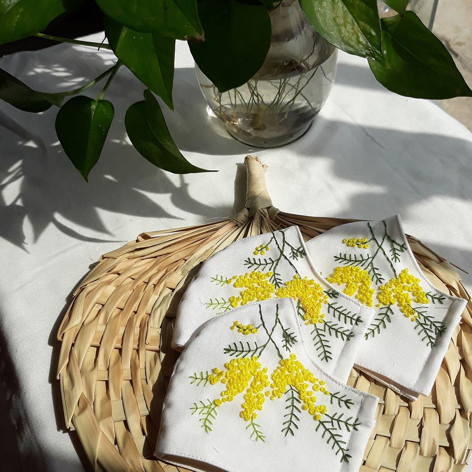 [BIG SALE] Flower Hand Embroidery Linen Mask