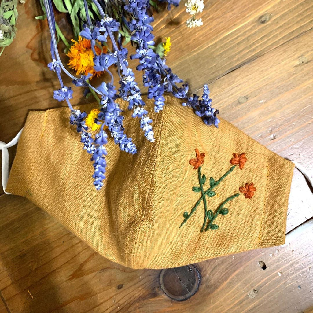 [CLEARANCE SALE] Hand-Embroidered Vintage Linen Fabric Mask