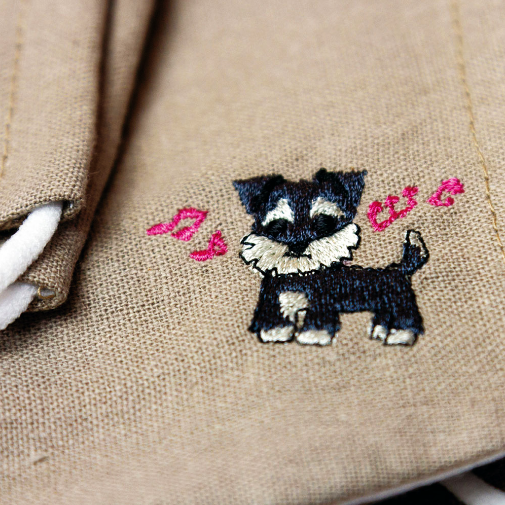 [CLEARANCE SALE] Handmade Inu Embroidery Linen Fabric Mask