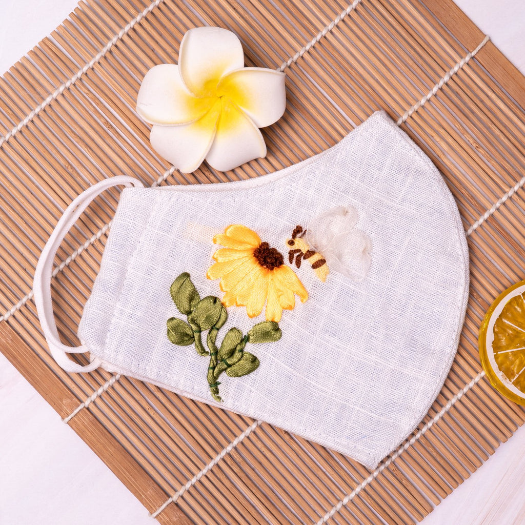 [CLEARANCE SALE] Bee & Sun Flower Ribbon Embroidery Linen Mask