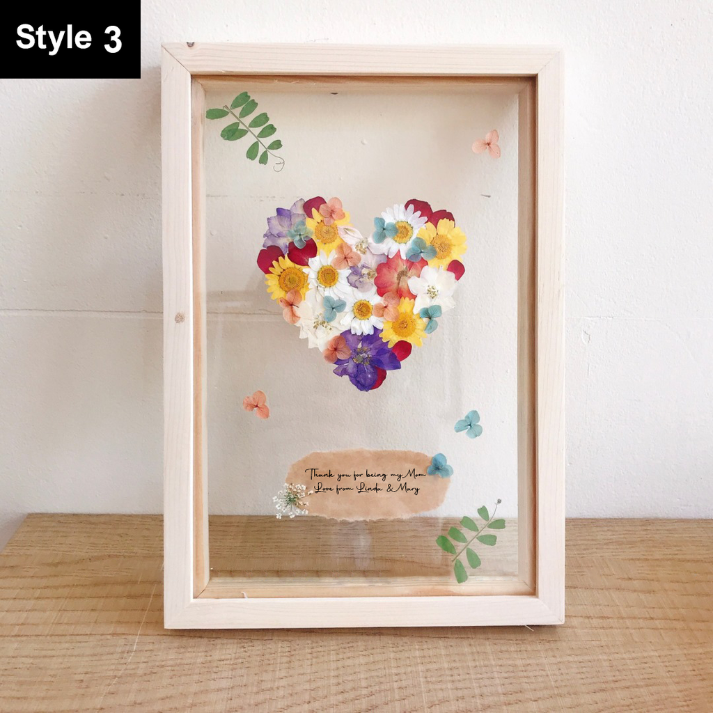 Personalized Pressed Real Flower Pinewood Frame - Gift for your beautiful Mom