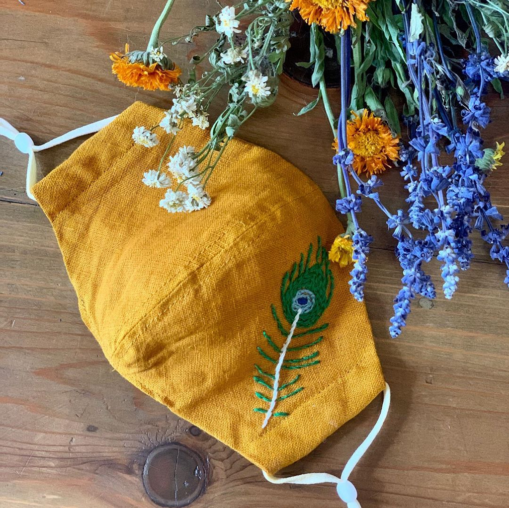 [CLEARANCE SALE] Wild Nature Hand-Embroidered Vintage Linen Fabric Mask