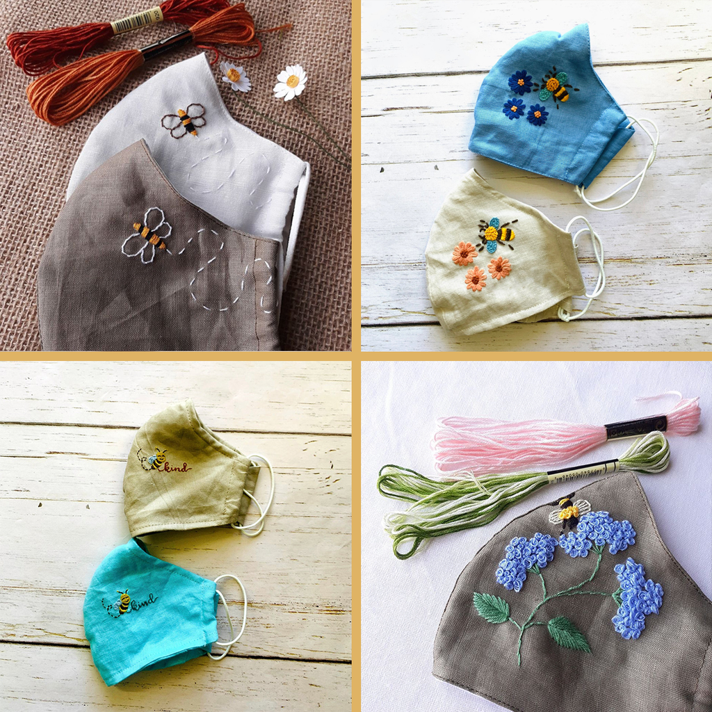 [CLEARANCE SALE] Combo Hand Embroidery Linen FaceMask