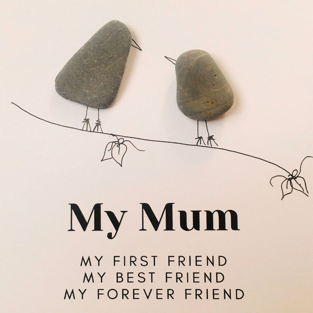 Mother and Daughter, Mother and Son Birds Pebble Art - Mother's Day Gift - Gift For Mom