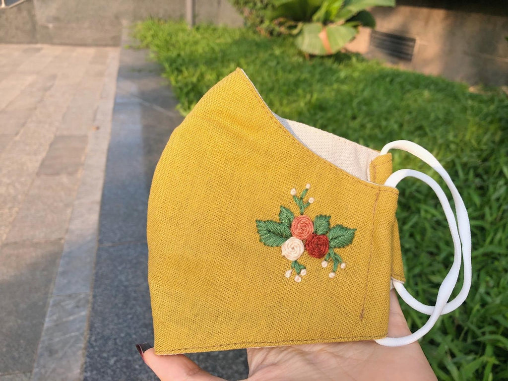 [CLEARANCE SALE] Handmade Embroidery Linen Mask [Set 2pcs]