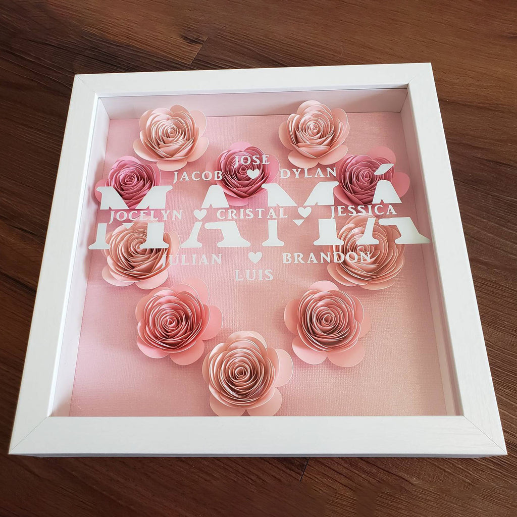 Personalized Mother's Flower Shadow Box