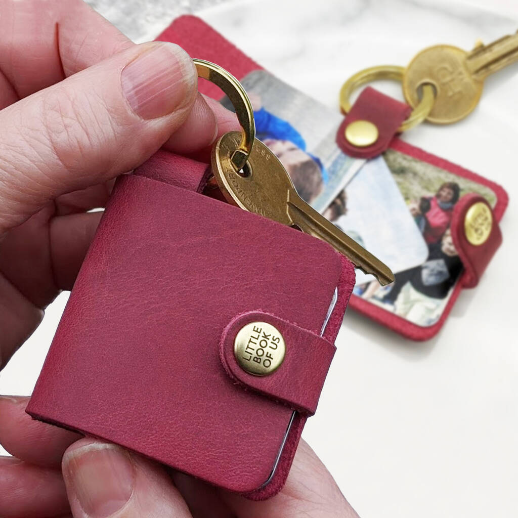 Personalized Leather Photo Book Keyring, Gift For Mom