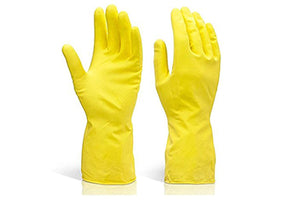 662 - Flock line Reusable Rubber Hand Gloves (Yellow 2 tone) - 1pc