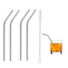 581 Stainless Steel Straws & Brush (4 Bent straws, 1 Brush) -5pcs