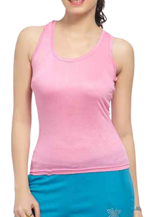 Pink Cotton Stretch Women Vest Tank Top
