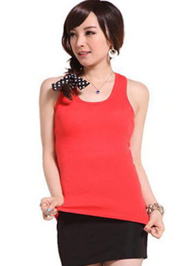 Solid Red Cotton Spandex Sleevless Tank Top