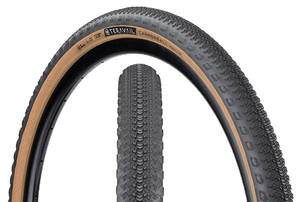 Teravail Cannonball Tire composite image with tread detail and sidewall detail.
