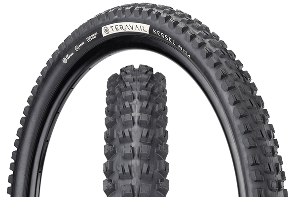 Teravail Kessel Tire composite image with tread detail and sidewall detail.